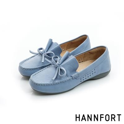 HANNFORT RIPPLE蝴蝶結典雅樂福鞋-女-牛仔藍