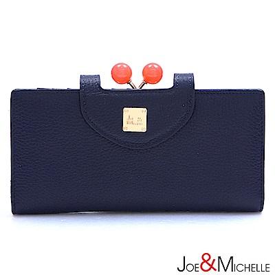 J&M 真皮愛蜜莉框釦長夾 海軍藍