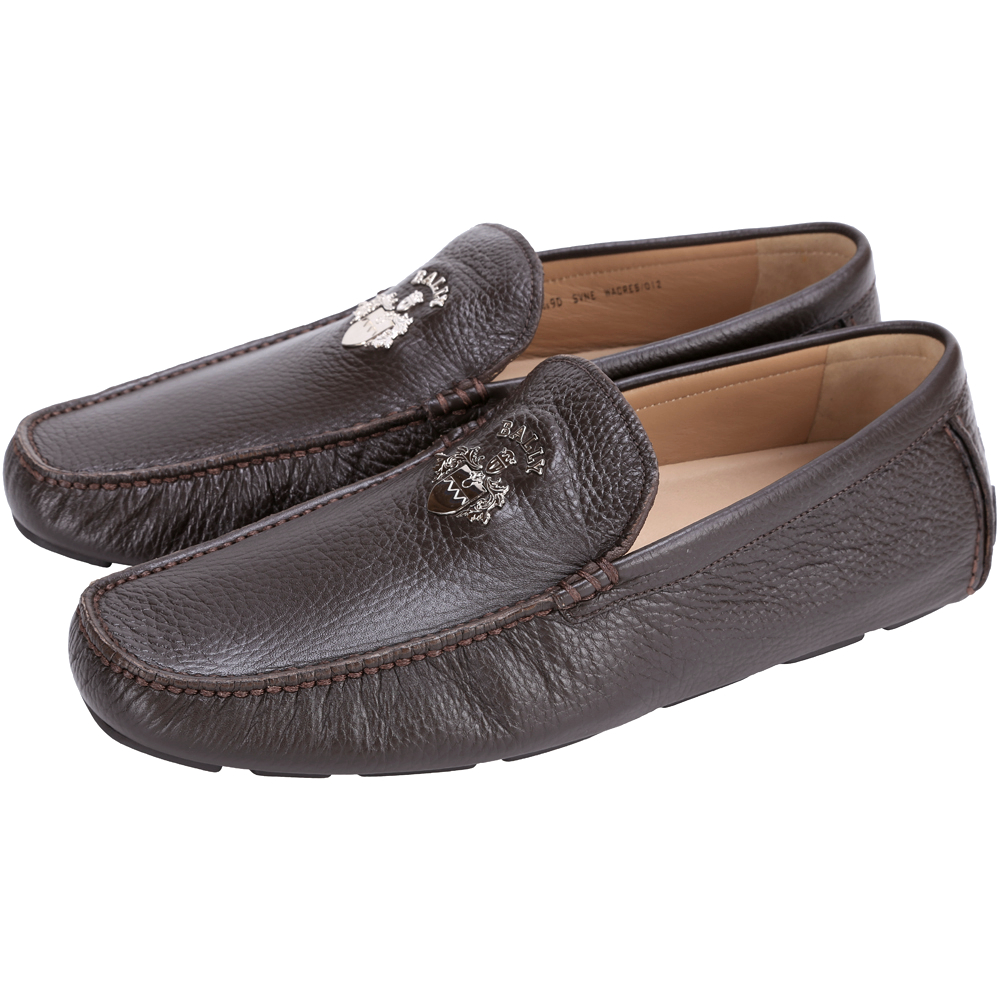 BALLY WACRES 品牌徽章小牛皮樂褔鞋(咖啡色)