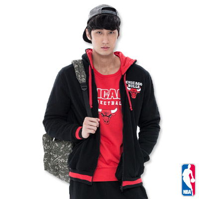 NBA-芝加哥公牛隊繡花連帽外套-黑(男)