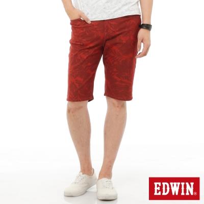 EDWIN 迦績褲 印花短褲-男-暗桔