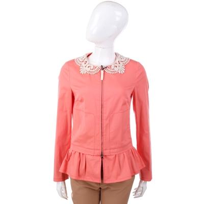 LOVE MOSCHINO 粉橘色織花領荷葉造型拉鍊外套
