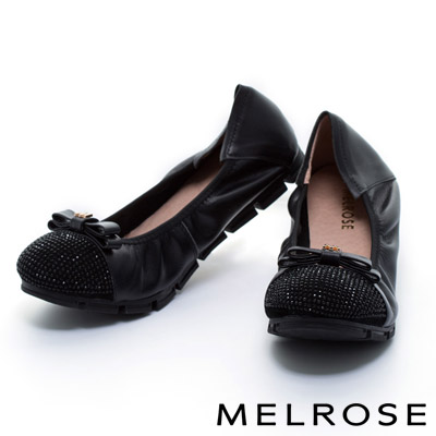 MELROSE-異材質拼接蝴蝶結晶鑽牛皮厚底娃娃鞋
