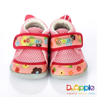 Dr. Apple 機能童鞋 MIT繽紛小花拼接透氣網布小童鞋 粉