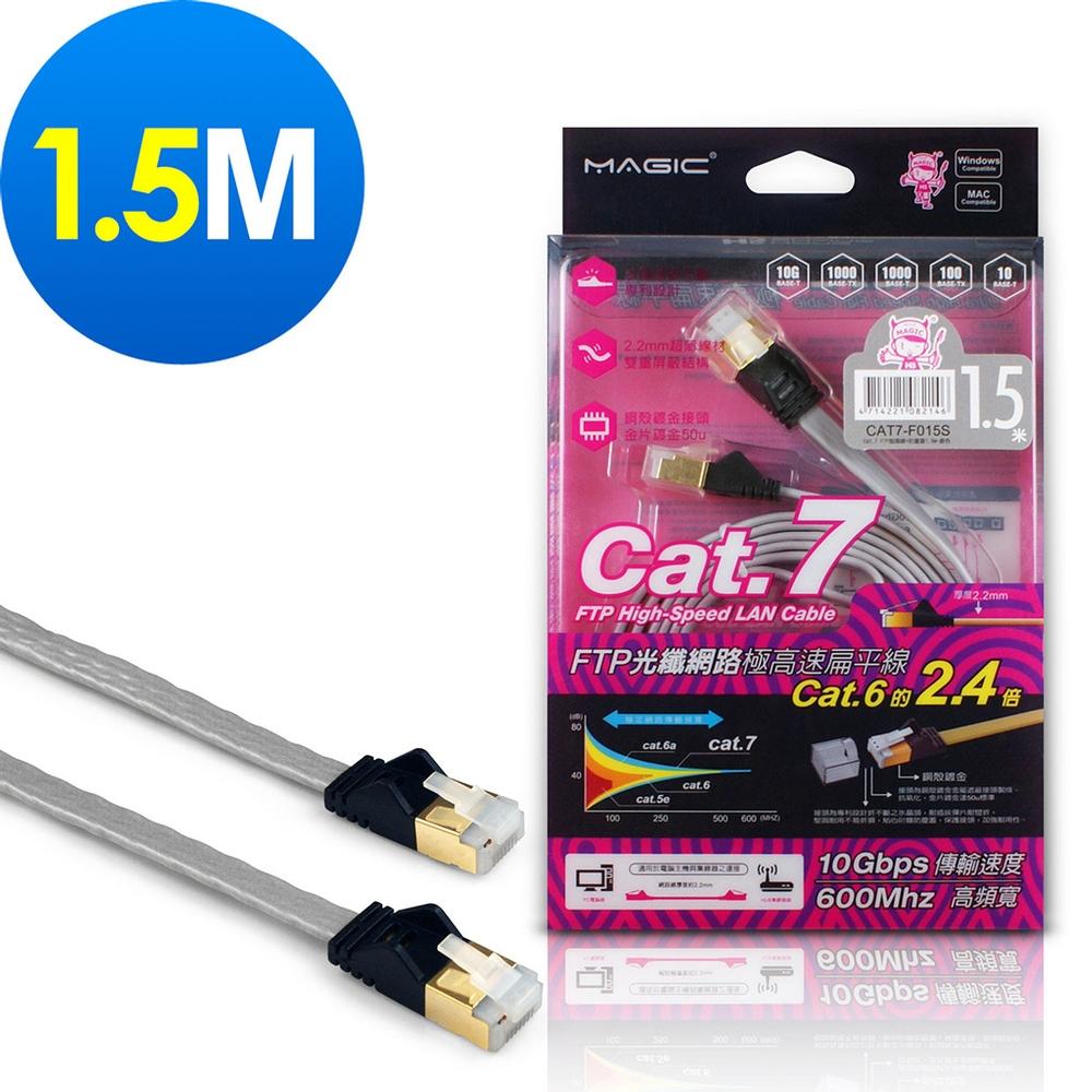 MAGIC Cat.7 FTP光纖網路極高速扁平網路線(專利折不斷接頭)-1.5M