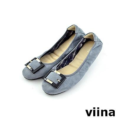 viina 經典款絨布方扣摺疊鞋MIT-灰色