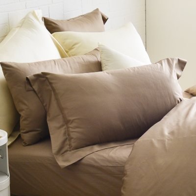 Cozy inn 簡單純色-咖啡-200織精梳棉枕頭套-2入