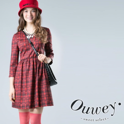 OUWEY歐薇-經典格紋七分袖洋裝
