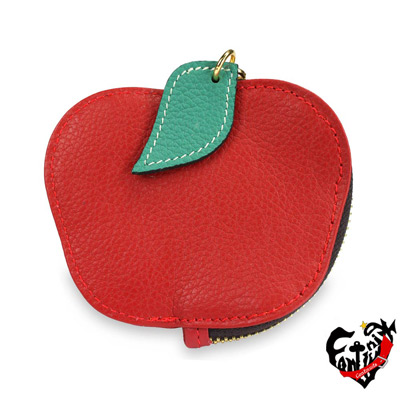 真皮屋 CONTINUITA 台灣手工真皮包 MIT 輕巧蘋果水果造型零錢包