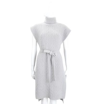 Max Mara 灰色高領麻花針織綁帶罩衫/洋裝