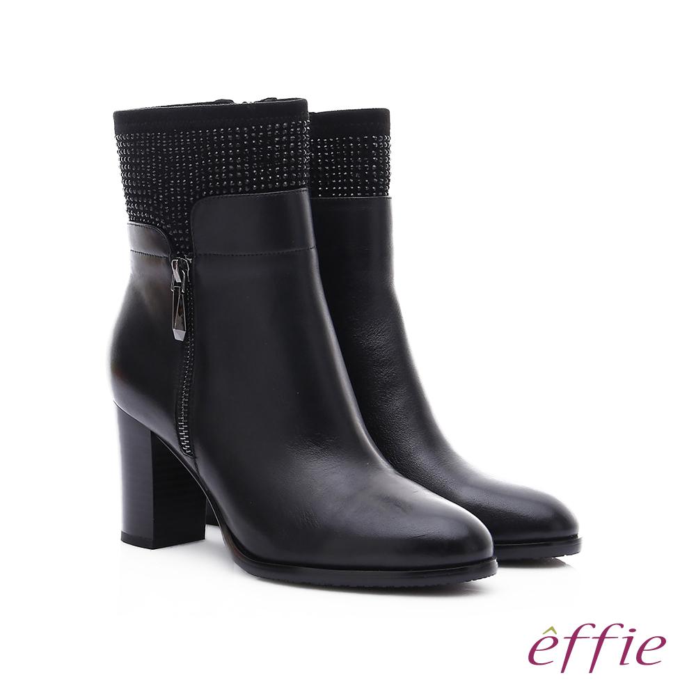 effie 保暖靴 牛皮拼接絨布閃亮水鑽拉鍊中筒靴 黑色