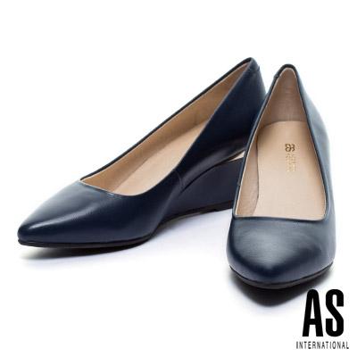 高跟鞋-AS-金屬風羊皮美型尖頭楔型高跟鞋-藍