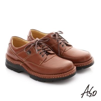 A.S.O 抗震雙核心 摔花牛皮綁帶奈米紳士鞋 茶色