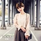 東京著衣-yoco 安琪聯名法式蕾絲質感荷葉袖上衣-XS.S.M.L(共二色)