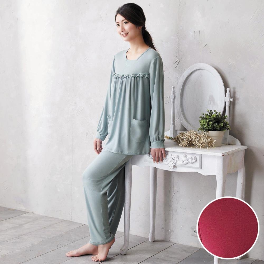 華歌爾 美麗諾羊毛 M-L 長袖圓領褲裝(紅)-睡眠研究所-家居服-舒適保暖