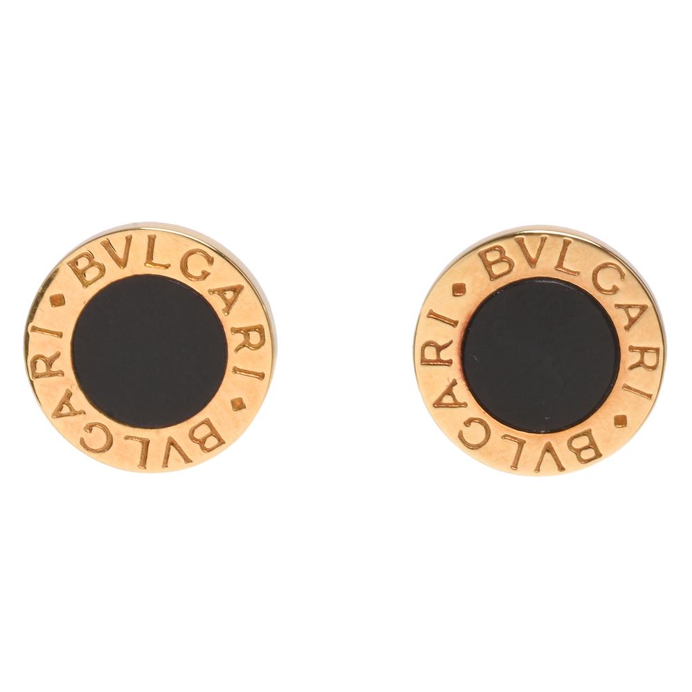 BVLGARI 經典LOGO刻印黑瑪瑙鑲飾K金圓型穿式耳環(金)