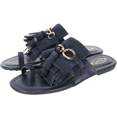 TOD'S Tassel 麂皮流蘇夾腳拖鞋(深藍色)