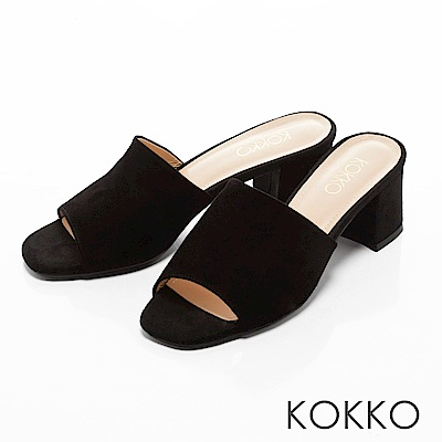 KOKKO - 優雅復古方頭高跟涼拖鞋-經典黑