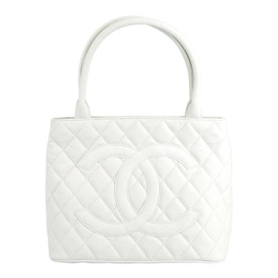 CHANEL 經典雙C LOGO 流蘇造型手提包(白)-展示品