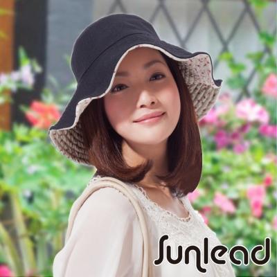 Sunlead 雙面雙色可戴。可塑型折邊防曬寬緣寬圓頂遮陽帽 (夏日花朵)