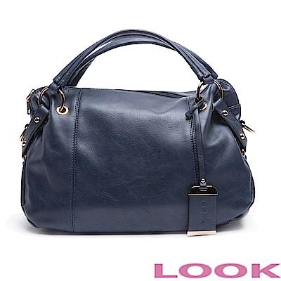 LOOK- Daisy黛西- 率性拼接手提包-沉穩藍