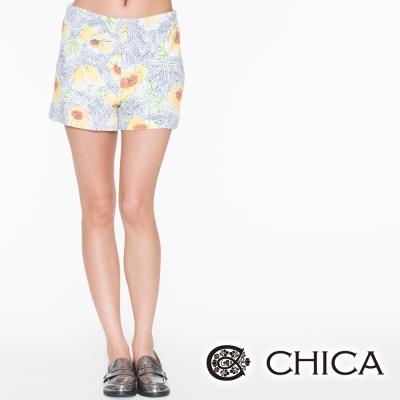 CHICA 插畫手繪花朵短褲(2色)