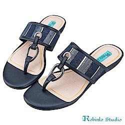 Robinlo Studio 全真牛皮羅馬風夾腳拖鞋 藍色