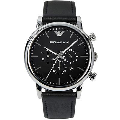ARMANI 亞曼尼經典質感三眼計時真皮手錶-黑/46mm