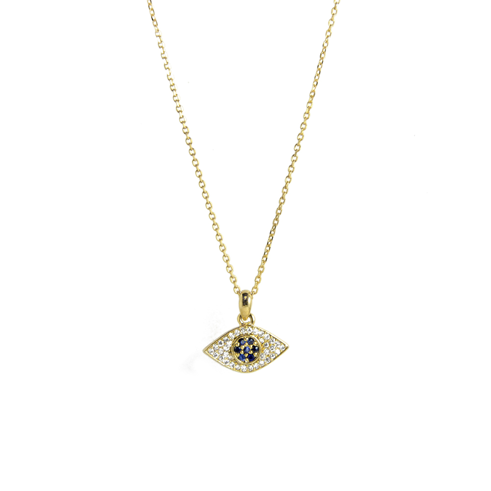 TAI 美國品牌 DIAMOND EVIL EYE 金色白鑽勢力藍鑽之眼 金色項鍊