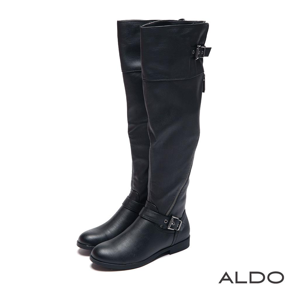 ALDO 街頭狂野風原色金屬拉鍊幾何釦帶長靴~尊爵黑色