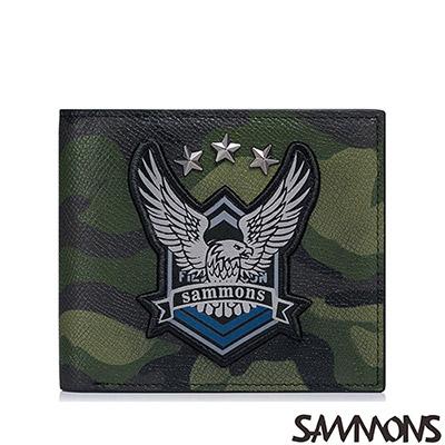 SAMMONS 真皮老鷹徽章短夾 迷彩綠