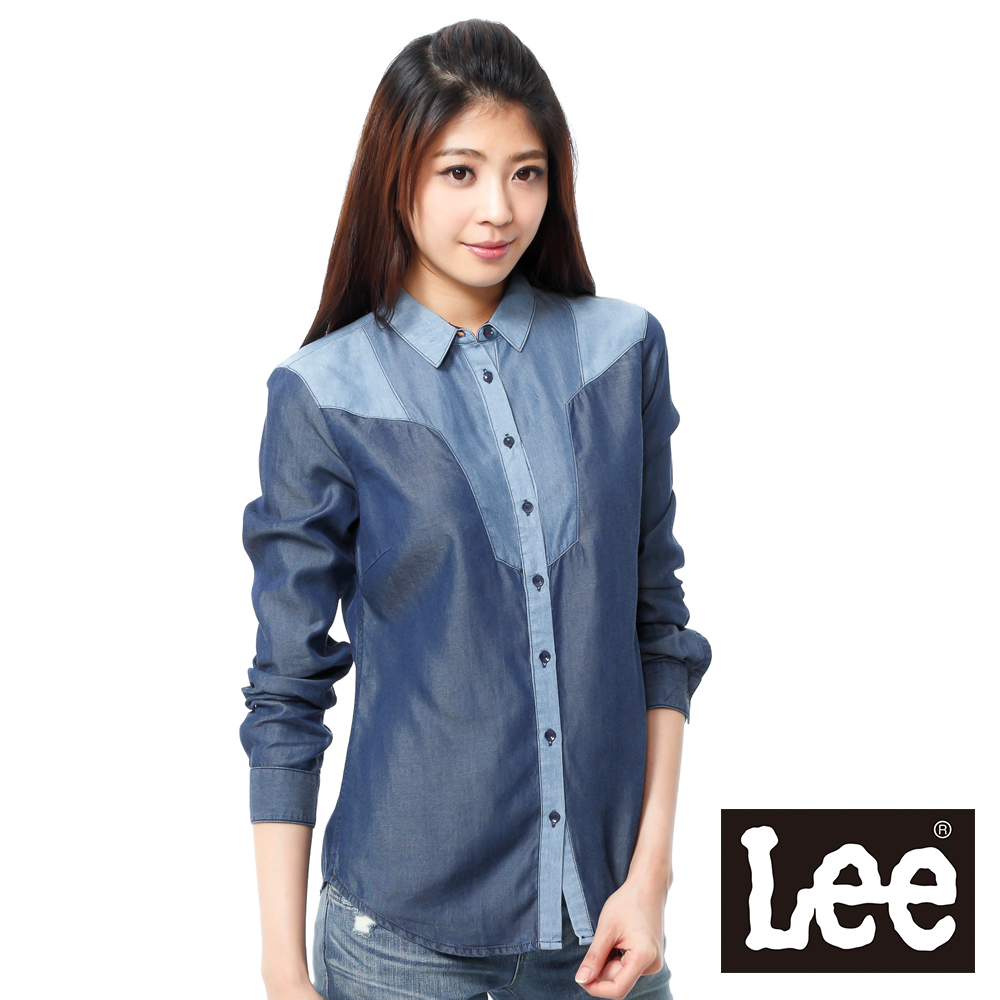 Lee 長袖襯衫 牛仔色塊拼接-女款(藍)
