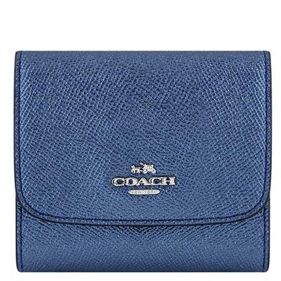 COACH 藍色金屬光澤皮革壓釦三摺十一卡短夾