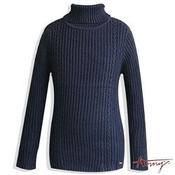 Anny超質量混羊毛彈性套頭毛衣*5640藍