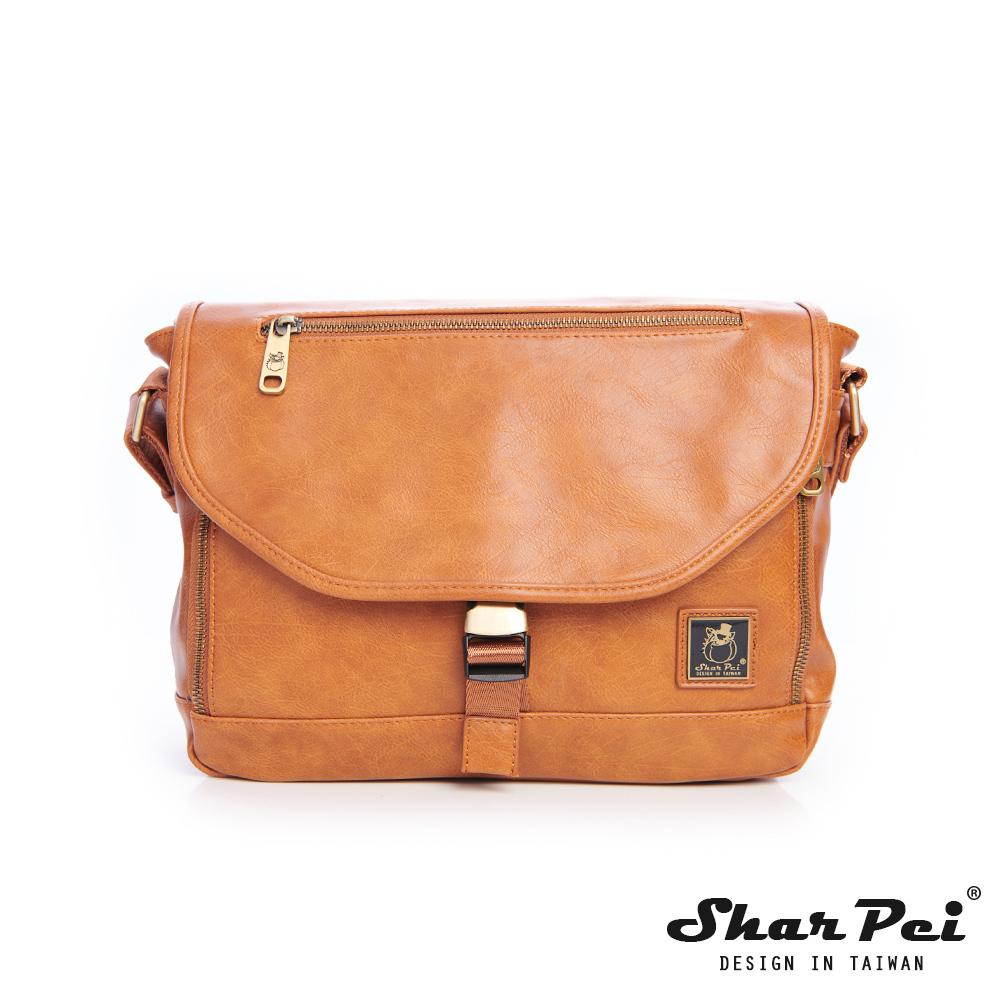 SharPei沙皮狗-城市漫遊x時尚叉釦橫式側背包-拿鐵棕