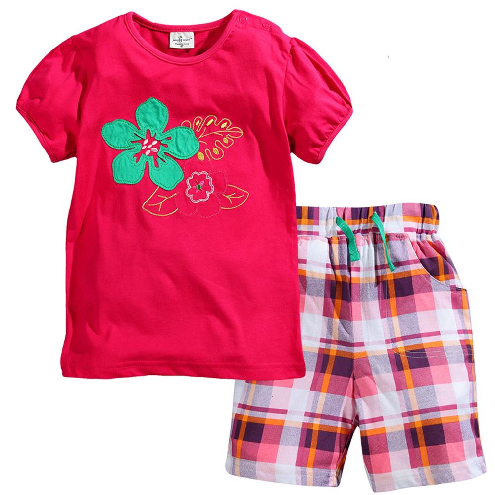 歐美風格設計 小童中童女童短棉T居家外出褲裝組 花朵 亮紅色