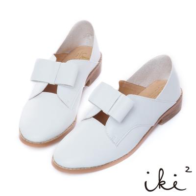 iki2 內真皮 簡約蝴蝶結後踩式兩穿平底鞋-白