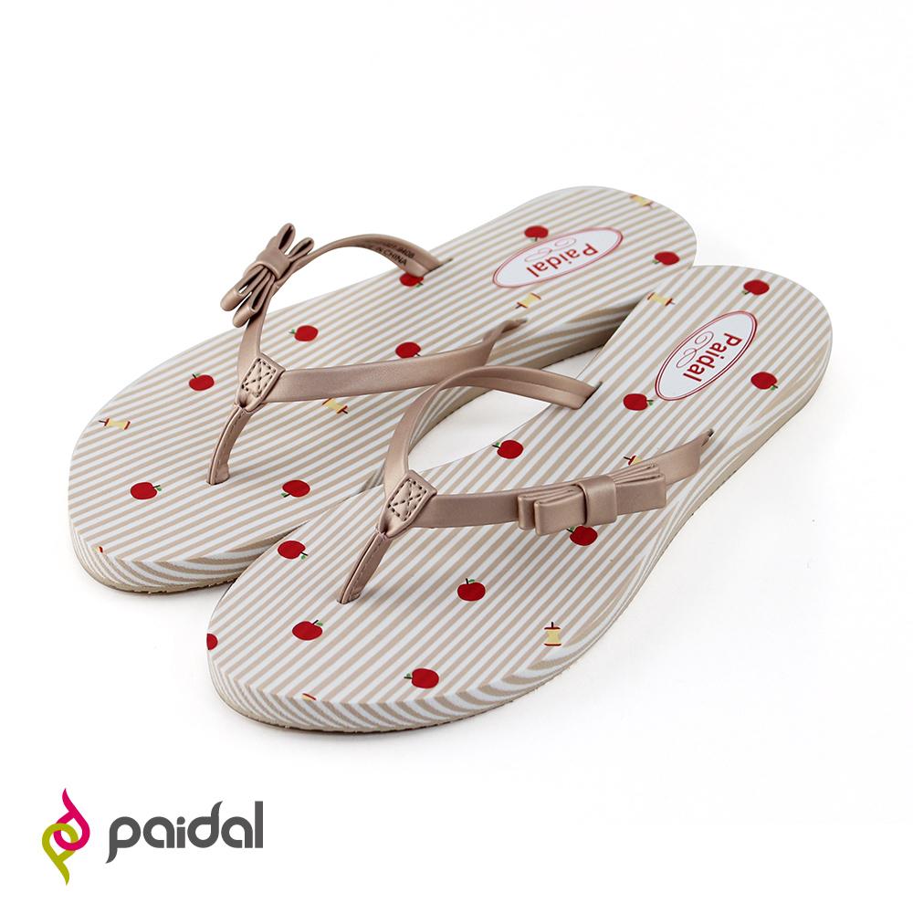 Paidal條紋褐灰蝴蝶結耳帶夾腳拖鞋-蘋果