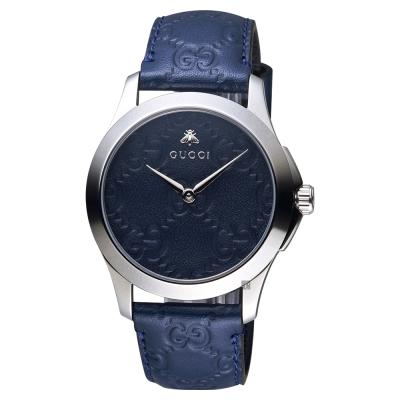 GUCCI古馳 G-TIMELESS 蜜蜂手錶-藍/ 39 mm