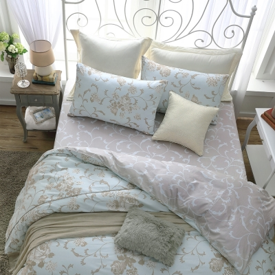鴻宇HongYew 100%精梳棉 克莉斯朵 藍 雙人床包枕套三件組
