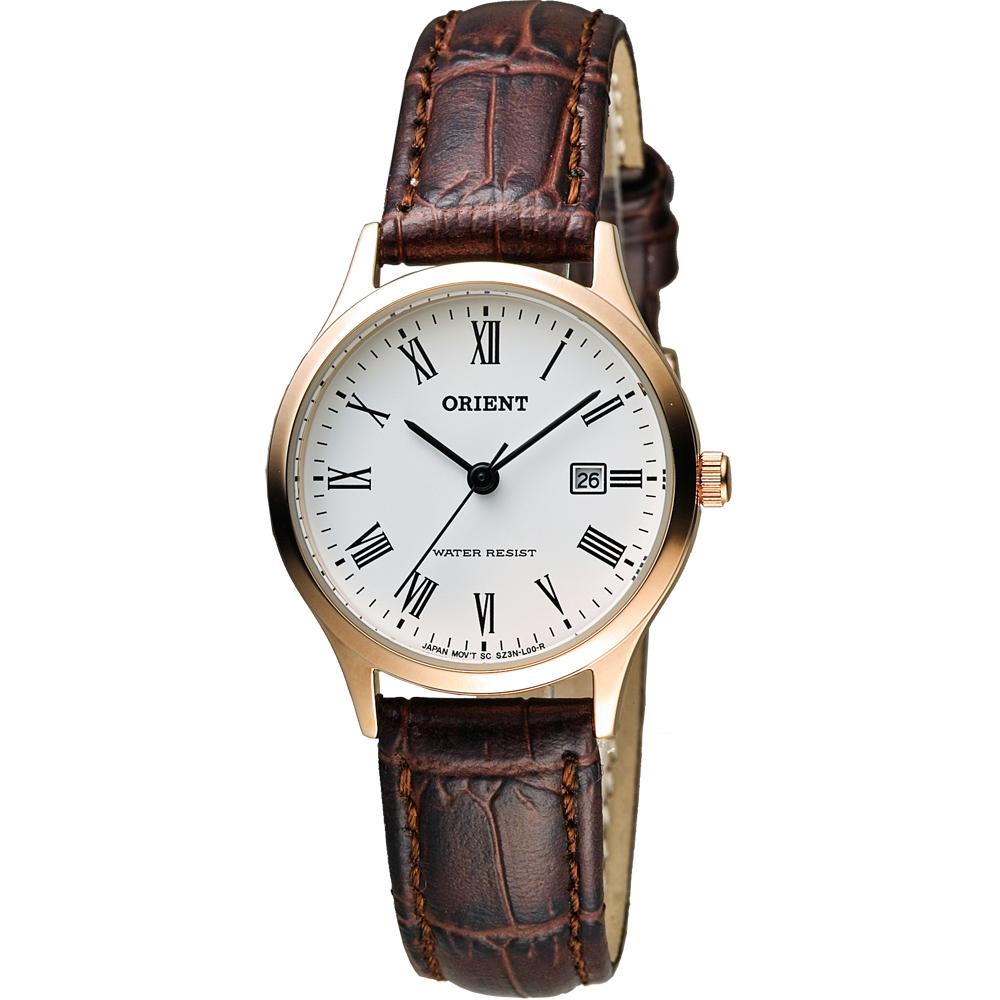 ORIENT 東方錶 優雅復刻羅馬數字石英女錶-白x玫瑰金框/28mm