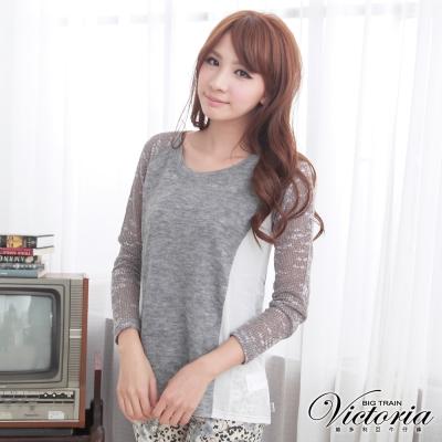 Victoria 提花針織袖雪紡拼接上衣-女-灰色