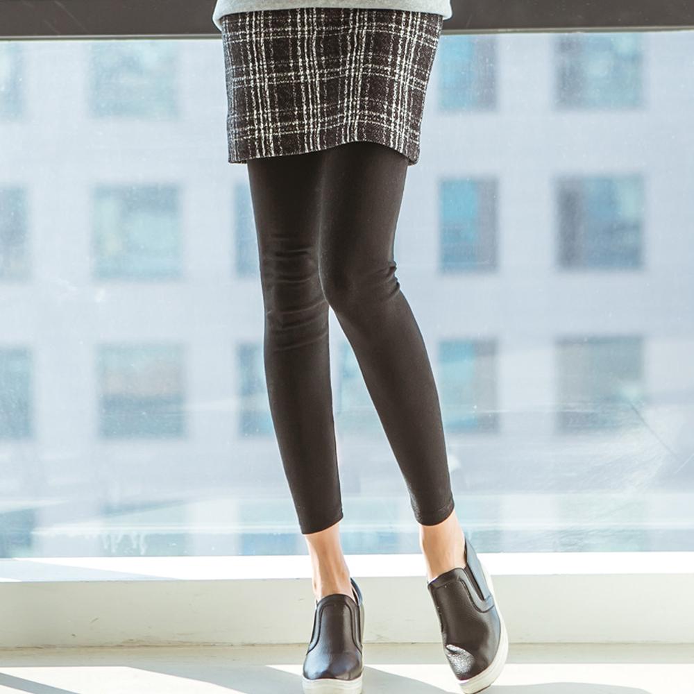 正韓 鬆緊仿舊格紋短裙拼接內搭褲 (共二色)-N.C21