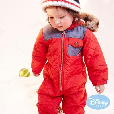 Disney Baby 雪花米奇保暖鋪棉連身裝 紅