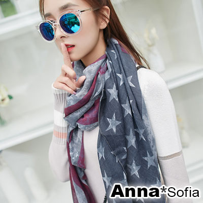 AnnaSofia-美國旗染印-拷克邊韓國棉圍巾披