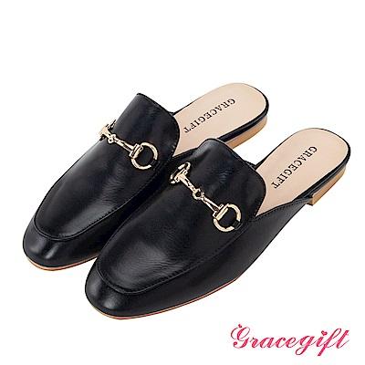 Grace gift-金屬馬銜釦樂福平底穆勒鞋 黑