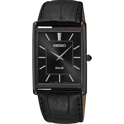 SEIKO SOLAR 太陽能城市風尚方型腕錶(SUP881P1)-黑/28mm