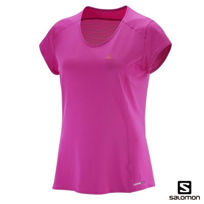 Salomon 短袖T恤 女 COMET PLUS 紫紅