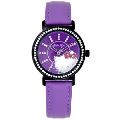 HELLO KITTY 凱蒂貓探頭可愛時尚錶款-紫x紫面/32mm
