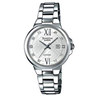 SHEEN 奢華系列羅馬時刻藍寶石玻璃日曆腕錶(SHE-4524D-7A)-銀/31.1mm